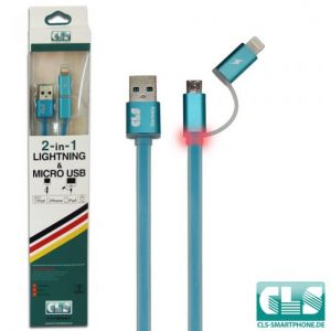 2 in 1 USB Ladekabel (LED)- Blau