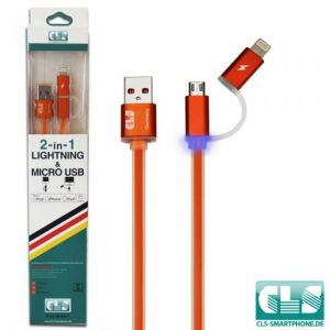 2 in 1 USB Ladekabel (LED)-Orange