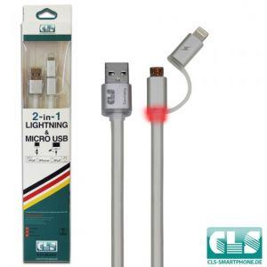 2 in 1 USB Ladekabel (LED)-Silber