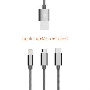3 in 1 Ladekabel Daten Kabel Micro USB, Lightning , USB C Kabel